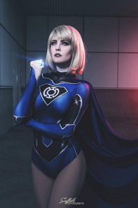Maid Of Might Cosplay as Blue Lantern/Supergirl