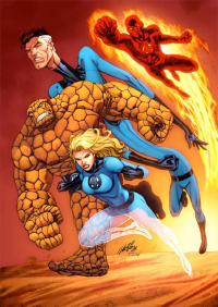 Reed Richards, Johnny Storm, Sue Storm, The Thing from Alrioart